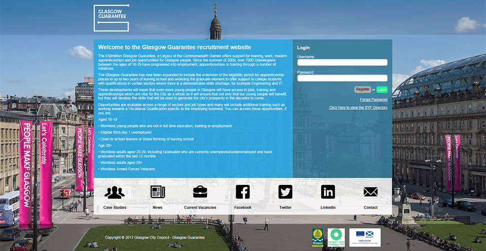 Glasgow Guarantee website screenshot